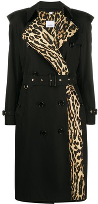 Burberry Leopard-Print Lined Trench Coat