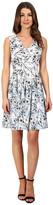 Sangria V-Neck Floral Print Pleat Skirt Fit & Flare