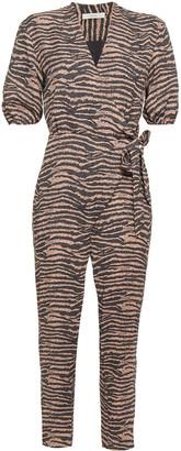Joie Wrap-effect Tiger-print Crepe Jumpsuit