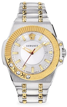 Versace Chain Reaction Two-Tone Stainless Steel IP Yellow Gold Bracelet Strap Watch