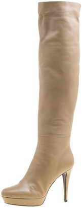 Loriblu Beige Leather Faux Fur Lined Platform Knee Length Boots Size 40
