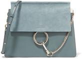 Chloé Faye Medium Leather And Suede Shoulder Bag - Blue