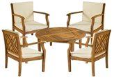 Safavieh Outdoor Living Anaheim Brown Acacia Wood 5-piece Beige Cushion Patio Set
