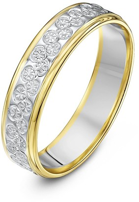 Theia Unisex 9 ct White and Yellow Gold Heavy Flat Diamond Cut 5 mm Wedding Ring Size P