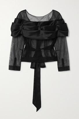 Simone Rocha Tie-detailed Tulle And Silk-satin Top - Black