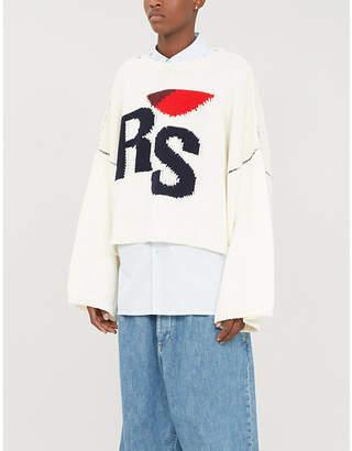 Raf Simons Logo-intarsia cropped wool jumper