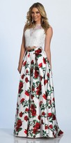Dave and Johnny Two Piece Rose Print Rhinestone Embellished Prom Dress