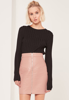 Missguided Nude Quilted Zip Through Faux Leather Mini Skirt