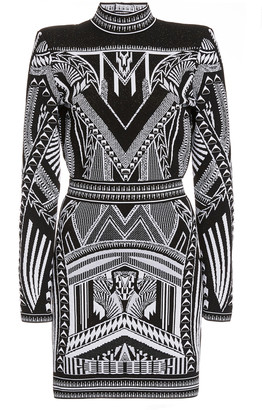 Balmain Embroidered Open-Back Mockneck Dress
