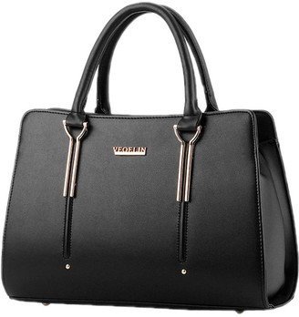 DELEY Womens Structured Office Totes Ladies Handbag Shoulder Bag Purse Black