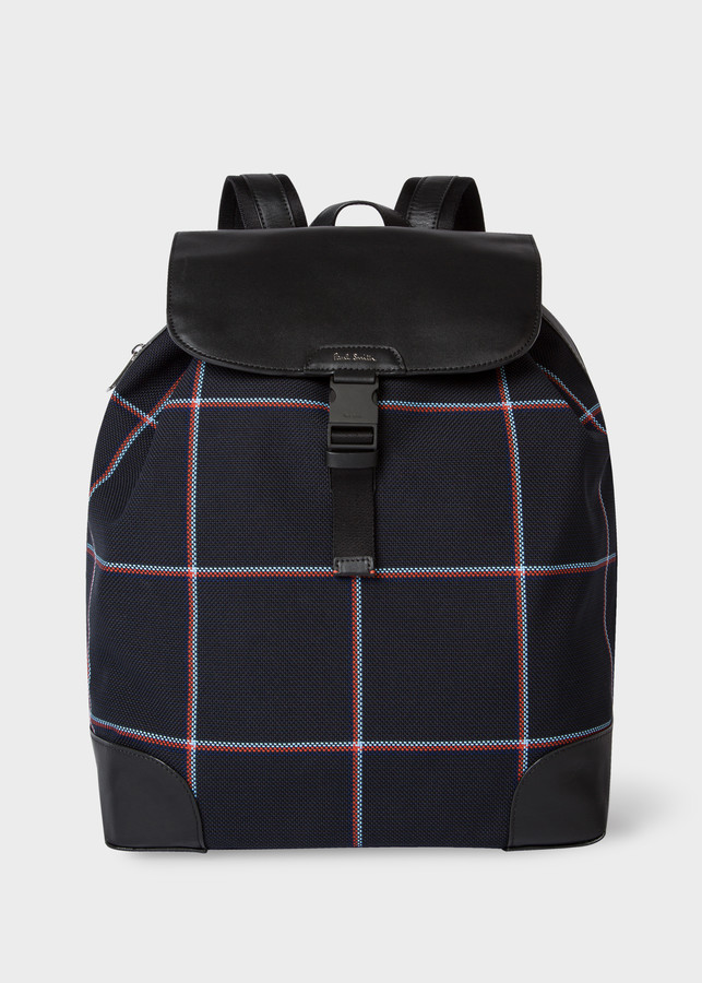 Paul Smith Men's Navy Jacquard-Check Cotton-Blend Backpack