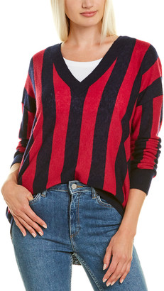 Autumn Cashmere Deep V Stripe Cashmere & Silk-Blend Sweater