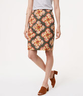 LOFT Curvy Floral Medallion Pencil Skirt