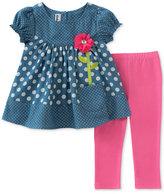 Kids Headquarters 2-Pc. Dot-Print Chambray Tunic & Leggings Set, Baby Girls (0-24 months)