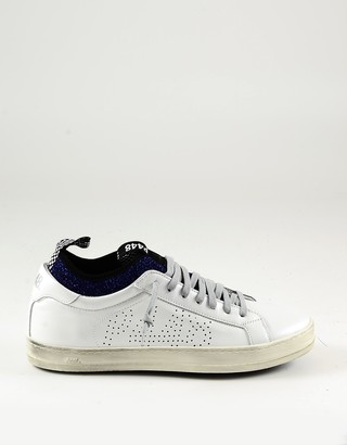 P448 White&Blue Leather Women's Sneakers