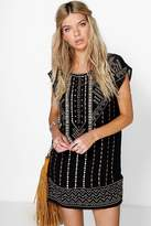 Boohoo Boutique Ruth Embroidered Beaded Shift Dress