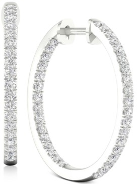 """Forever Grown Diamonds Lab-Created Diamond Small In & Out Hoop Earrings (1/2 ct. t.w.) in Sterling Silver, 0.72"""""""