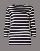 Autograph Striped Round Neck 3/4 Sleeve T-Shirt