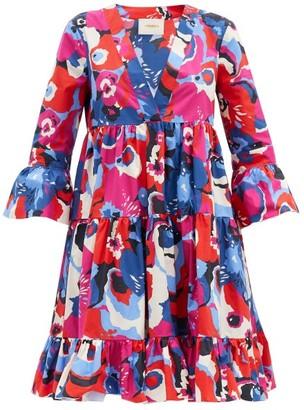 La DoubleJ Short Jennifer Jane Big Flower-print Cotton Dress - Red Multi