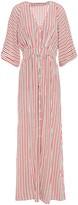Vanessa Bruno Lettie Gathered Striped Silk Crepe De Chine Maxi Dress