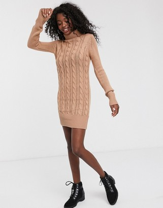 Brave Soul roll neck cable knit jumper dress in dusty pink