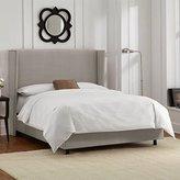 Skyline Furniture Wingback Bed in Velvet Light Grey - King