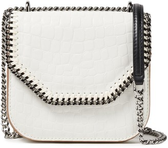 Stella McCartney Chain-trimmed Glossed Faux Croc-effect Leather Shoulder Bag