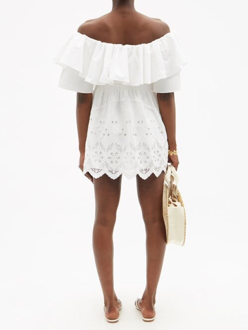 Thumbnail for your product : Self-Portrait Off-the-shoulder Embroidered Cotton Mini Dress - White