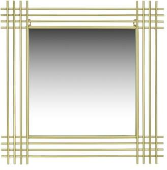 "Champagne Metal Pipe Square Wall Accent Mirror 24""x24"" by Patton Wall Decor"