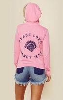 Sundry peace love sandy feet zip hoodie