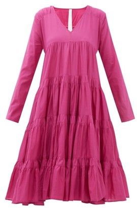 Merlette New York Rodas Tiered Pima-cotton Dress - Womens - Dark Pink