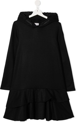 Moncler Enfant TEEN hooded ruffled dress