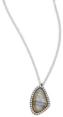 Meira T Diamond, Labradorite 14K White Goldplated Pendant Necklace