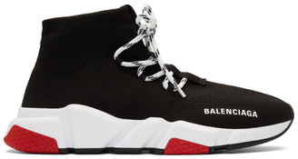 Balenciaga Black and Red Speed Lace-Up Sneakers