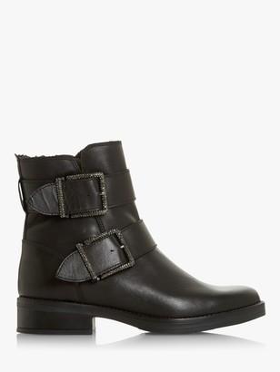 Dune Qualify Embellished Buckle Leather Ankle Boots, Black