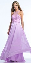 Dave and Johnny Floral Beaded Keyhole Back Prom Dress