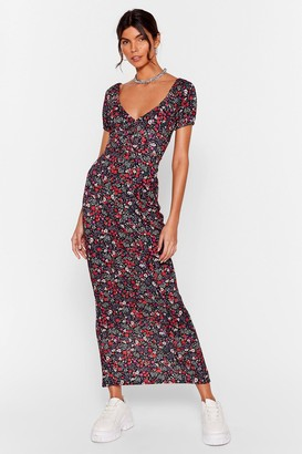 Nasty Gal Womens How Did You Grow Floral Maxi Dress - Black