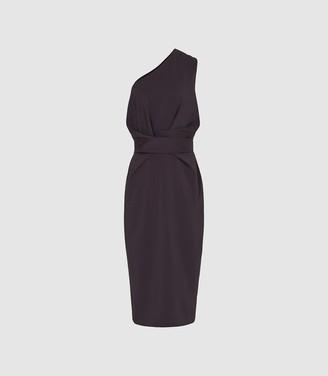 Reiss Laurent - One Shoulder Slim Fit Dress in Aubergine