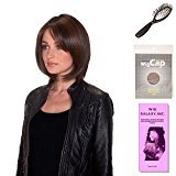 (4 Item Bundle) - (#BT-6002) Double Shot Bob by Belle Tress, Wig Brush, Booklet and a Free Wig Cap Liner. (Cappuccino with Cherry)