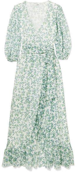 Ganni Tilden Floral-print Mesh Wrap Dress - Sky blue