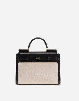 Dolce & Gabbana Small Sicily 62 Bag In Canvas And Cowhide