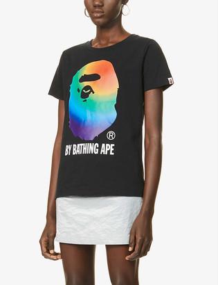 Bape Rainbow logo-print cotton-jersey T-shirt