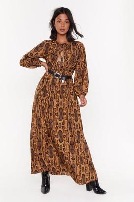 Nasty Gal Womens Snake It Extra Balloon Sleeve Maxi Dress - Brown - 6