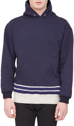 Maison Margiela Men's Pullover Hoodie with Knit Sweater Hem