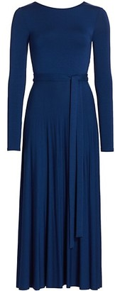Halston Bianca Long-Sleeve Jersey Pleated Dress