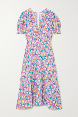 Faithfull The Brand Marie-louise Floral-print Crepe Midi Dress - Lilac