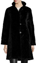 Trilogy Reversible Mink Fur-Trim Coat, Black