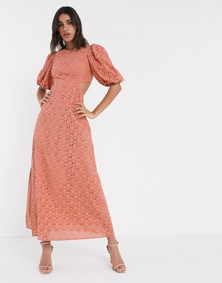 ASOS DESIGN broderie maxi dress with cut out back in rust