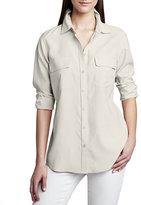 Go Silk Safari Long-Sleeve Silk Shirt, Plus Size