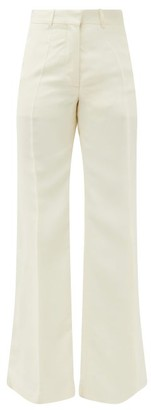 Victoria Beckham High-rise Canvas Flared Trousers - Womens - Ivory